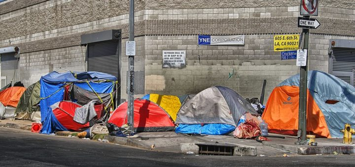 row of tents where homeless people live